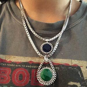 Nine West double pendant layer necklace